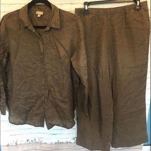 J JILL LINEN CROPPED PANTS SHIRT SET Brown Shale